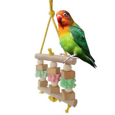 FT- Cy_ HK- Parrot Birds Wooden Hanging Swing Ball Block Chew Bite Play Toys Cag