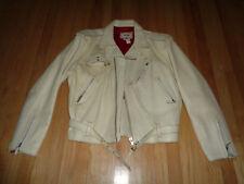 Vintage Lee Trevor White Leather Biker Jacket   SUPER RARE   Size XXL