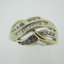 10k Yellow Gold Approx .25ct TW Diamond Fashion Band Ring Size 6 1/2
