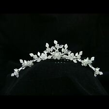 2c14c8af193261 Bridal Flower Leaf Rhinestone Crystal Wedding Tiara Comb 9267