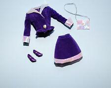 SWEET Purple & White Top & Skirt Outfit w/ Purse & Heels Genuine BARBIE Fashion