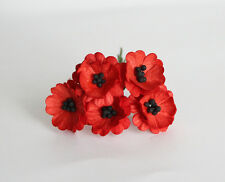 PACK  5 RED POPPY FLOWERS GREAT FOR  CRAFTS-CAKES-FAVOURS