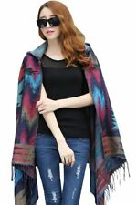 New American Indian Navajo design Hooded shawl poncho Blue