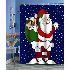 Up On The Roof Santa Claus Christmas Fabric Shower Curtain