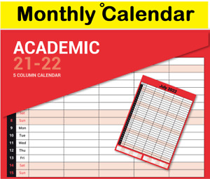 2021 - 2022 Academic A3 Monthly Planner Calendar Staff Rota Family Organiser