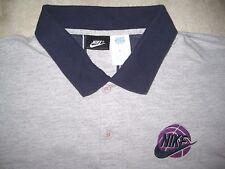 Vintage Black Label 1990s Nike Basketball Logo Gray Polo Knit Shirt Used Xl