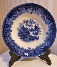 Flow Blue Wide Rimmed Bowl/Shanghai Trade Mark England Gorgeous Color