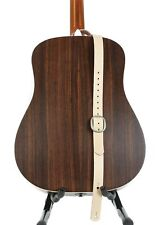 """1 1/4"""" Wide Beige Tanned Leather Buckle Guitar Strap"""
