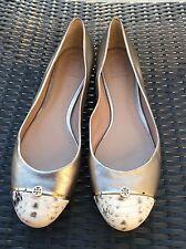 TORY BURCH Gold Metallic Nude Snake Skin Ballerina Flat Shoes Sz 8 Preowned