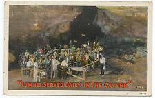 1931 Postcard Carlsbad Cavern People Eating Lunch