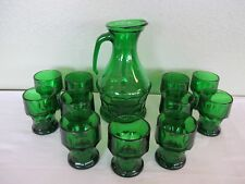"ITALIAN GEORGIAN HONEYCOMB EMERALD GREEN 9"" PITCHER AND 11 - 3¾"" TUMBLERS-marked"