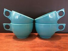 Set of 4 Vintage Melmac Melamine Spaulding ware Blue Coffee Cups Mugs