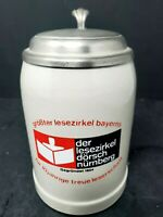 VINTAGE GERMAN POTTERY BEER STEIN WITH PEWTER LID 0.5 Liter