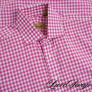 #1 MENSWEAR Paul Stuart White Fuschia Big Gingham Plaid Spread Clr Shirt 16 NR