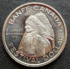 1972 Banff Alberta $1 Trade Token - Indian Days - Festival Dollar - Proof