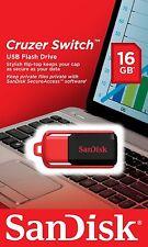 SanDisk 16GB Cruzer Conmutador USB Flash Pen Drive Tarjeta de memoria NUEVO Reino Unido 5 yearwarranty