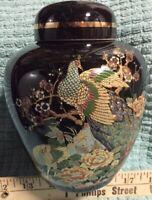 Vintage Golden Peacock Japan Ginger Jar