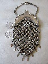 Antique Victorian Art Nouveau Silver T Chatelaine Clover Chain Mail Coin Purse