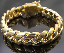 14k Gold Thick Heavy Miami Mens Cuban Link Bracelet High Quality Stainless Steel