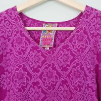 [ JOHNNY WAS ] Womens Embroidered Purple Top | Size S or AU 10 / US 6