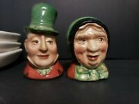 Vintage Man and Woman Toby-Style Salt and Pepper Shakers Set made in England