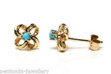 9ct Gold Turquoise Knot Studs earrings Gift Boxed Made in UK