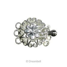 925 Sterling Silver Spring Daisy Flower Love Heart 3 Strand Pearl Box Clasp 18mm