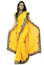 Yellow NW Bollywood Sequin Embroidery Sari Saree Costume Boho danse du ventre