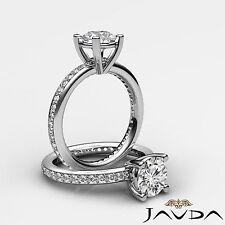 Fino Redondo Diamante Elegante Compromiso GIA F VS2 puesto Pavé Anillo Platino