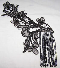 ANTIQUE VICTORIAN FANCY JET BLACK BEADWORK DECORATION-CLOTHING-ART-SEW-RESTORE-