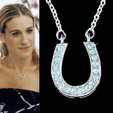 w Swarovski Crystal ~Blue HORSESHOE~ Western Wedding Celebrity Pendant Necklace
