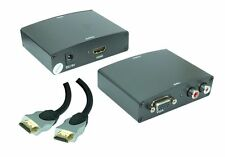 Multimedia VGA/Audio zu HDMI Konverter + 3m HDMI Kabel | Metallgehäuse