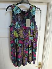 Ladies Feather Print Tropical Playsuit Size 12