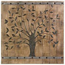 "Oversized Tree of Life Natural Rustic Wood Barn Door Panel Wall Sculpture 36"""