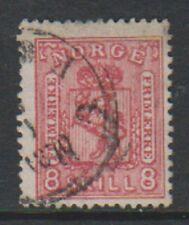 Norway - 1867, 8sk Rose Carmine stamp - G/U - SG 29