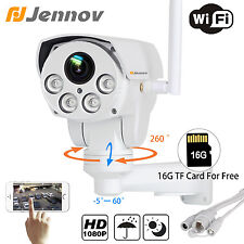 Jennov 2.0MP 1080P Wireless Wifi IP PTZ Bullet Camera 4XZoom Outdoor 16G SD Card