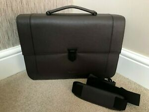 TED BAKER BROWN BOVINE LEATHER MESSENGER BAG BRIEFCASE RETAIL BNWT