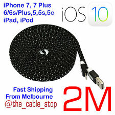iPhone 7 Plus 5 5s 5c 6 6S PLUS Lead Cord Cable DATA Sync 8-PIN USB iOS10.3 Blk