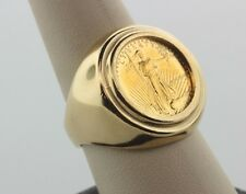 1989 $5 Walking Lady Liberty Gold Coin Ring- 14K Prong Set Gold Ring - Size 9.5