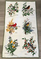 Patchwork Quilt Wall Hanging, Printed Bird Plates, Rectangles, Leaves, Flowers