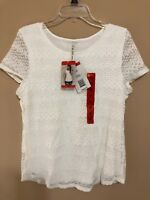 Leo & Nicole Women's Size Medium Lace Top Off White Short Sleeve Shirt New NWT