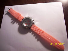 NY&C Women's pink white dial silicone stretch band analog quartz watch - NEW