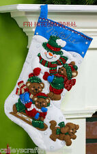 "Bucilla Fun In The Snow ~ 16"" Felt Christmas Stocking Kit #86484 Snowman, Bear"