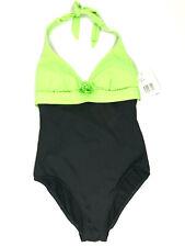 LIZ CLAIBORNE Sz 10 Swimsuit Black Green Halter Bathing Suit