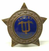 "VTG Antique Underwood Typewriter Co ""Expert Typist"" Award Lapel Star Pin Badge"