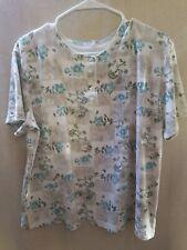 croft & barrow women's blouse size XL multicolor floral bottoms short sleeves Z1