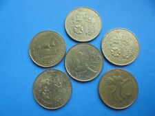 Italy, 6 - 200 Lire Coins as shown.