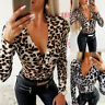 Womens Leopard Print Bodysuit Ladies V Neck Stretch Leotard Body Tops Jumpsuit