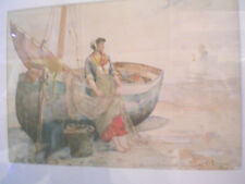 """M. ROUZEE, French WATERCOLOR """"The Net Mender"""" 1879 / Original  14"""" X 20"""""""