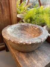 1800's Ancient Old Hand Caved Beautiful Stone Mortar Bowl Garden Decorative Bowl